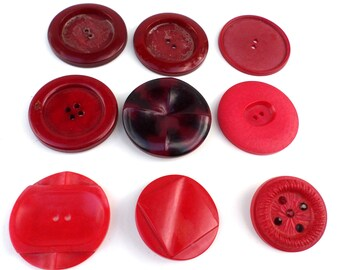 9 Big Red Vintage Buttons Unique Red Buttons for Sewing Crafts Scrapbooking Cardmaking Jewelry