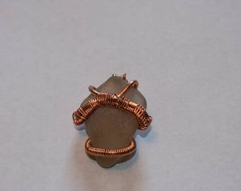 Copper Wired Pendant on Sea Glass