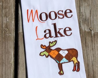 Monogrammed Gift, Personalized Dish Towel with Machine Embroidered Name and Applique Moose for the Cabin, Cottage or Lake
