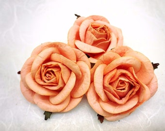 5 pcs. 50mm/2 inches large peach mulberry roses - paper flowers #135