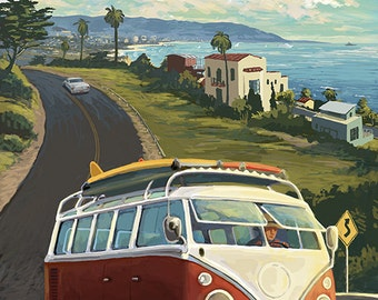 Old Town - San Diego, California - VW Van Cruise (Art Prints available in multiple sizes)