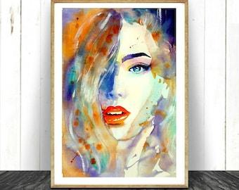 Fashion Print made from Original Watercolour Painting. Colourful Watercolour Fashion. Beautiful Face