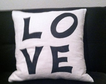 Love Message Pillow, black and white pillow cover, Gift pillow, anniversary pillow,  classic pillow cover,