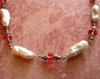 Stick Pearl and Swarovski Crystal Necklace