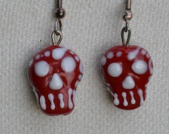 Lampwork Glass Day of the Dead Earrings, Handmade Earrings, Sugar Skull Earrings, Dia de los Muertos earrings, Red Sugar Skulls, Sugar Skull