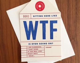 WTF Letterpress Card/Tag