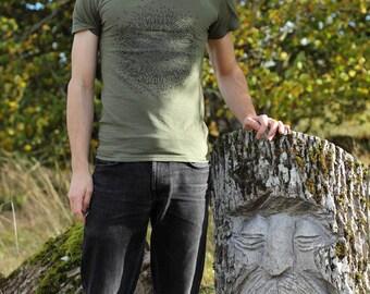 Mens Celtic Languages organic cotton t-shirt, olive green - T-léine Gaeilge - Tír Gan Teanga - Irish, Scottish, Welsh, Manx, Cornish, Breton