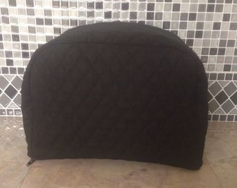 Black Zipper 2 Slice Toaster Cover Quilted Fabric Small Appliance Covers Ready to Ship