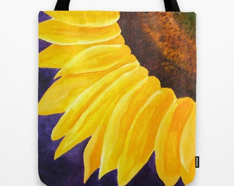 "Big Tote Bag, Sunflower on Purple, 16""x16"" Art Print Tote"