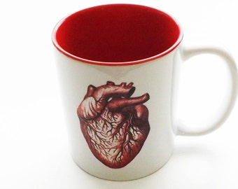 Coffee Mug Anatomical Heart medical coworker gift for him stocking stuffer men valentine home decor goth macabre human body cup anatomy geek