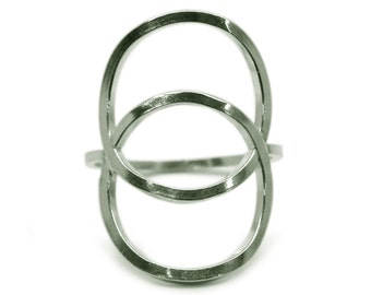 Sterling silver vesica piscis ring