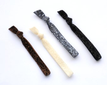 Neutrals Glitter - 4  Skinny Sparkle Elastic Hair Tie - Great Holiday Hair Accessories Brown Black Ivory Gray