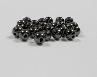 25 Hematite Gemstone Smooth Rounds, 6mm, Hematite, Gemstones, Smooth Rounds, Bead Supply, Jewelry Supply