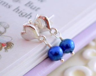 Royal Blue Pearl Earrings, Child Children Girl, Sterling Silver Jewelry, Dazzling Blue, Genuine Freshwater, Heart Ear Posts