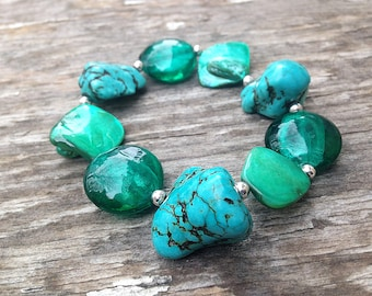 Vintage Large Natural Turquoise Stone and Shell Bracelet