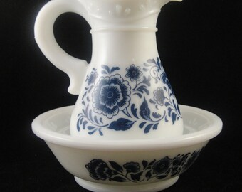 Avon Pitcher and Bowl Delft Blue
