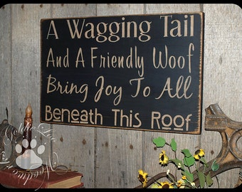 A Wagging Tail, Wood Wall Sign, Typography, Word Art, Subway Art, Handmade