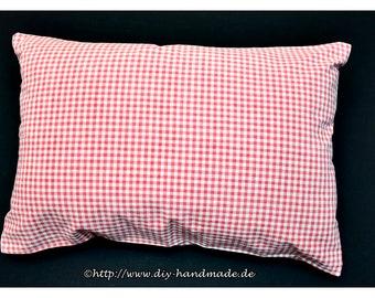 "Cushion Cover red white plaid, 60x40cm, 23.6X15.7 "", hand-woven cotton fabric, original button-strip, red white checkered peasant"