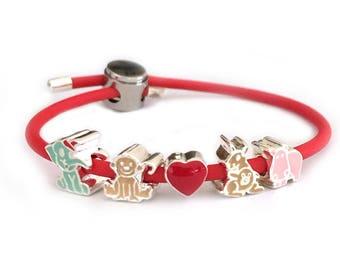 Zoo Animals Red Rubber Bracelet for Girls - Adjustable Locker