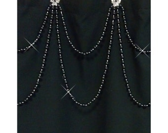 Black Pearl....Double Swag Shower Curtain Bling