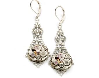 Steampunk WEDDING Earrings Steampunk Jewelry Steampunk Watch Earrings Antique Silver Victorian SteamPunk Jewelry by Victorian Curiosities