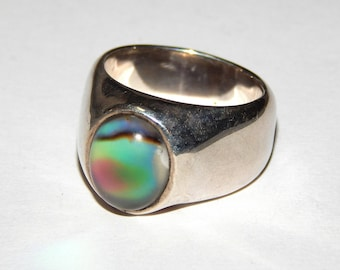 Abalone w/ Brazilian Quartz on top, set in 92.5 Sterling Silver Ring