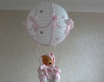 Hot Air Balloon Nursery Light shade with Winnie the Pooh toy