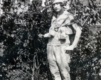 vintage photo 1918 Geometric Costume Pierrot Woman