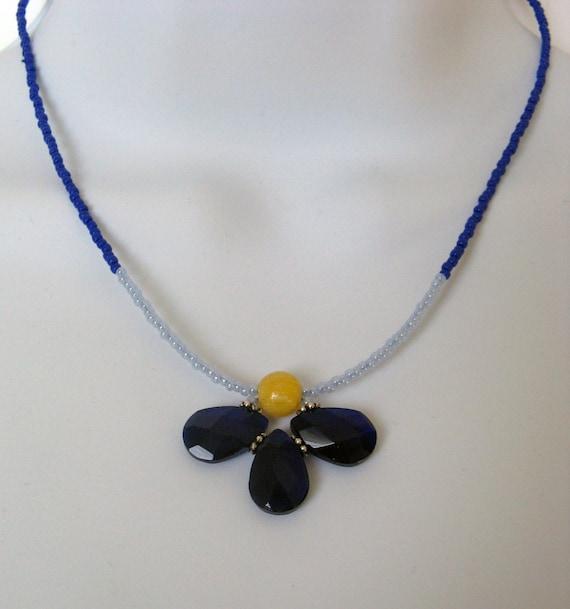 Half Flower Necklace- Cobalt Blue - Adjustable 16 1/2 inch long