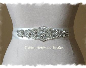 Wedding Sash, Pearl Wedding Dress Belt, Pearl Bridal Belt, Rhinestone Wedding Belt, Jeweled Pearl Sash, Crystal Bridal Sash, No 4060S1.5