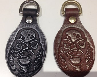 Creature from the black Lagoon hand made leather key fob