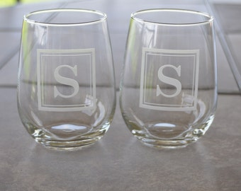 Set of Monogrammed Square Etched  Wine, Pint, or Rocks Glasses using Sandcarving by Jackglass  on Etsy.com