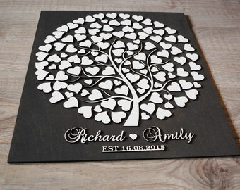 Wedding Tree Guest Book Alternative Wood Guestbook 3D Guest Book Sign 3D Wedding Tree Guest book Globe Wooden Guest Book Hearts Black White
