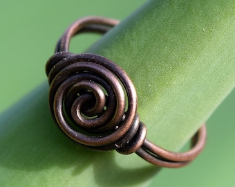 Antique Copper, Patina Sterling Silver, or Shiny Sterling Silver, or Antique Brass Ring, Wire Wrapped Ring, Spiral, You Pick!, Wire Ring
