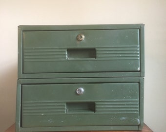 Vintage Industrial Mint Green Metal Drawer.