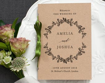 Rustic Order of Service Wedding Program / 'Vintage Wreath' Pocket-sized Elegant Wedding Booklet / Recycled Kraft Brown Card / ONE SAMPLE