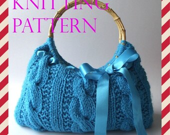 KNITTING BAG PATTERN Handbag with Lace Ribbon - Lucia Bag - pdf file Instant Download Cute Bag wooden handles knitted bow bag pattern