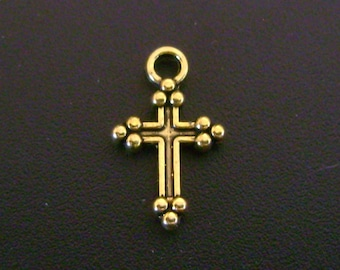 Sweet Gold Tone Cross Charm - Low Shipping