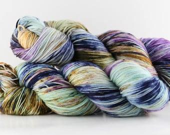 Hand dyed yarn,  80 / 10 / 10%  Super wash Merino / Cashmere / Nylon, sock yarn, 400 yards, 'Portlandia'