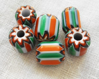 Lot of 15 orange, green and white striped chevron glass Beads 8 x 9mm C3701