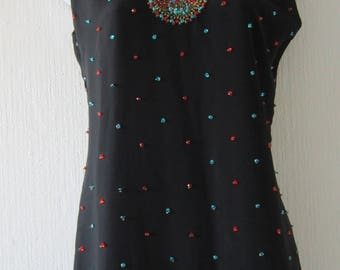 Black Multi Colored Beaded Top