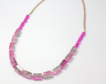 Pink and Green Necklace, Watermelon Necklace, Crackle Glass, Summer Necklace, Watermelon Colors