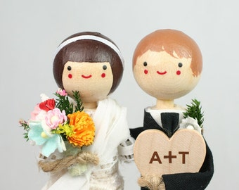 Custom Wedding Cake Topper with 1x CUSTOM CLOTHING and 1x HEART