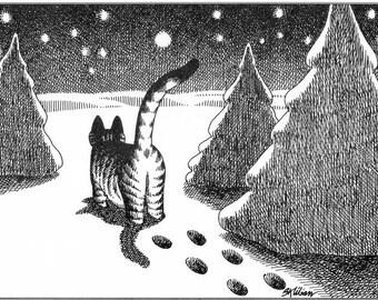 B Kliban Cat Original Vintage Print Silent Night December Winter Snow Qat Art Comic