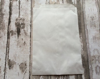 25 Glassine Lined White Paper Bags, 4 3/4 X 6 3/4, 1/4 pound.  Favor Bags, Party, Wedding, Shower, Candy, Baked Goods, Packaging