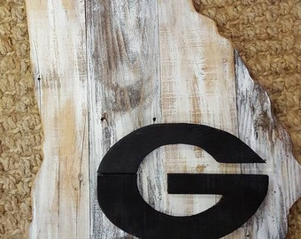 State of Georgia hand made with barnwood and reclaimed wood