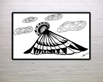 Black and white print, Two Worlds Meet, abstract, wall art, fantasy, home decor