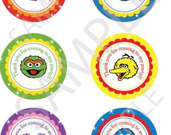 "Sesame Street thank you stickers - 3"" round stickers - sesame street thank you labels - 3 inch round treat bag labels"