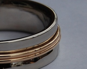 White and Yellow Gold Pathway Wedding band