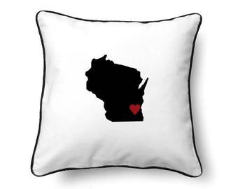 Wisconsin Pillow - Wisconsin Gift - Wisconsin Map - WI State Map